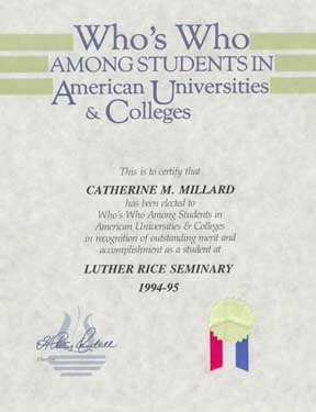 Who's Who Certificate 1994-1995